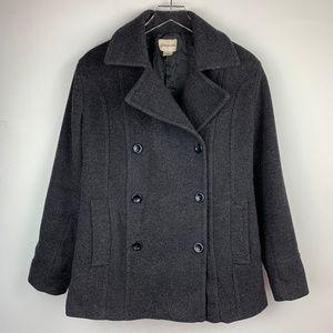 ST. JOHN'S BAY — Gray Cashmere Wool Blend Pea Coat